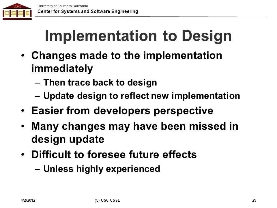 Implementation to Design
