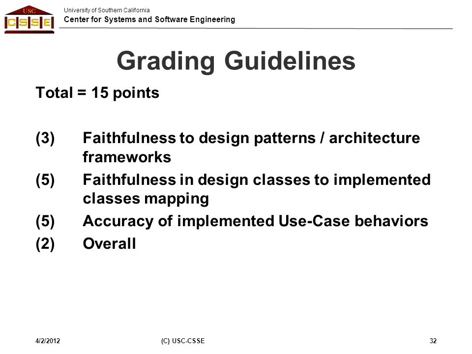 Grading Guidelines Total = 15 points