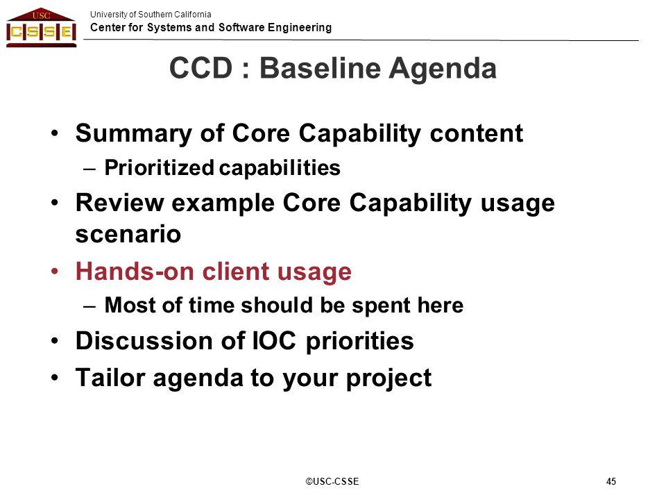 CCD : Baseline Agenda Summary of Core Capability content