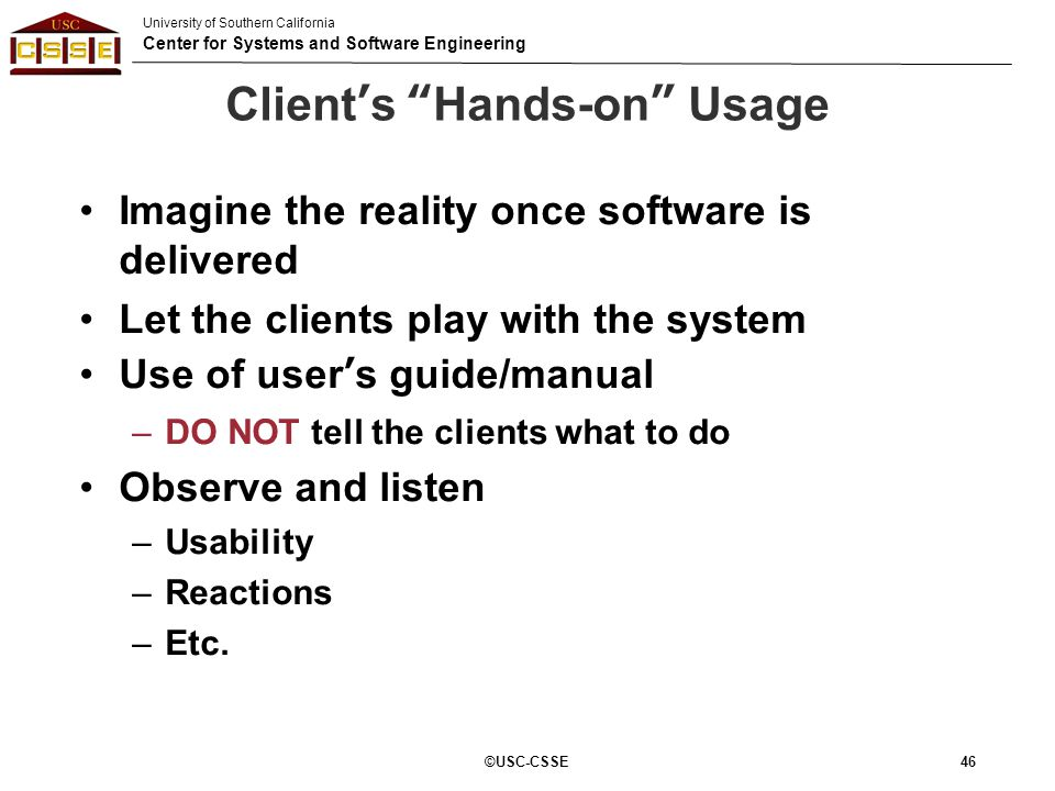 Client's Hands-on Usage