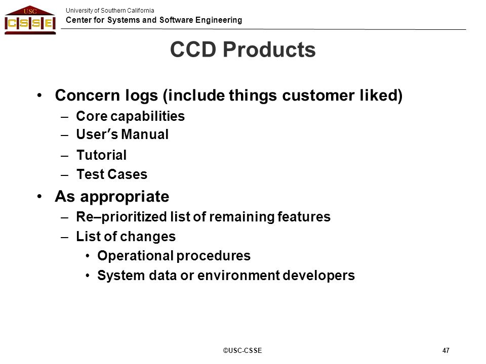 CCD Products Concern logs (include things customer liked)