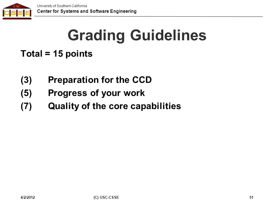 Grading Guidelines Total = 15 points (3) Preparation for the CCD