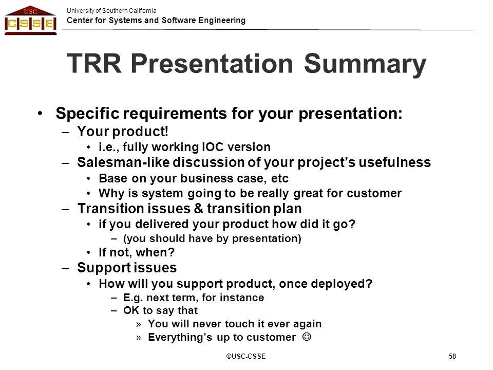 TRR Presentation Summary