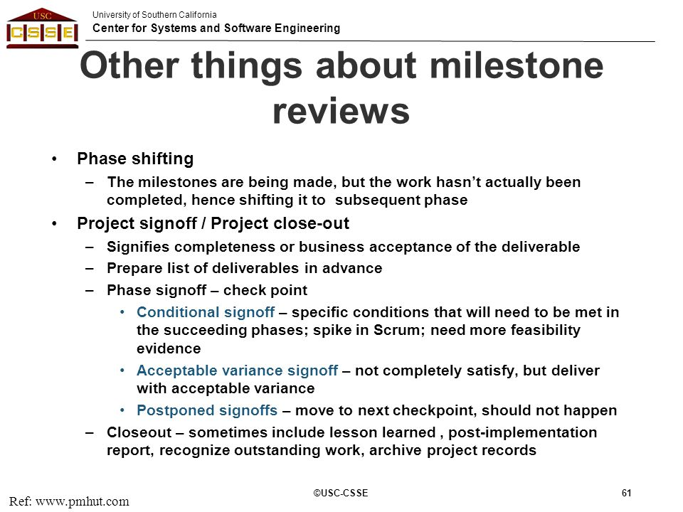 Other things about milestone reviews