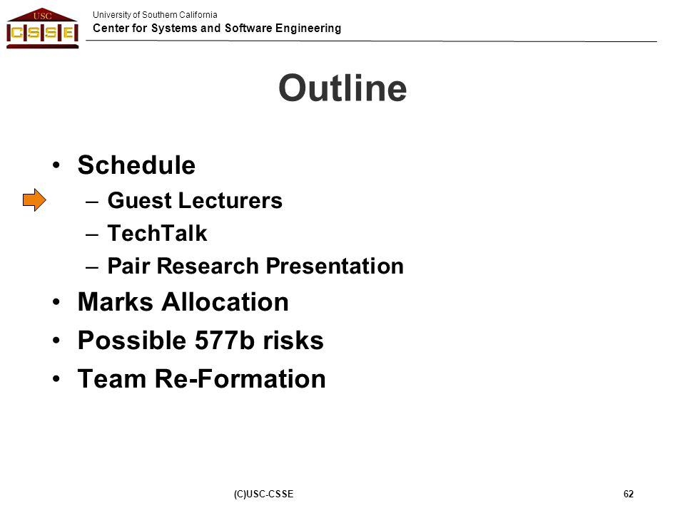 Outline Schedule Marks Allocation Possible 577b risks