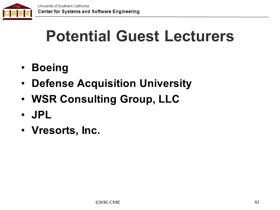 Potential Guest Lecturers