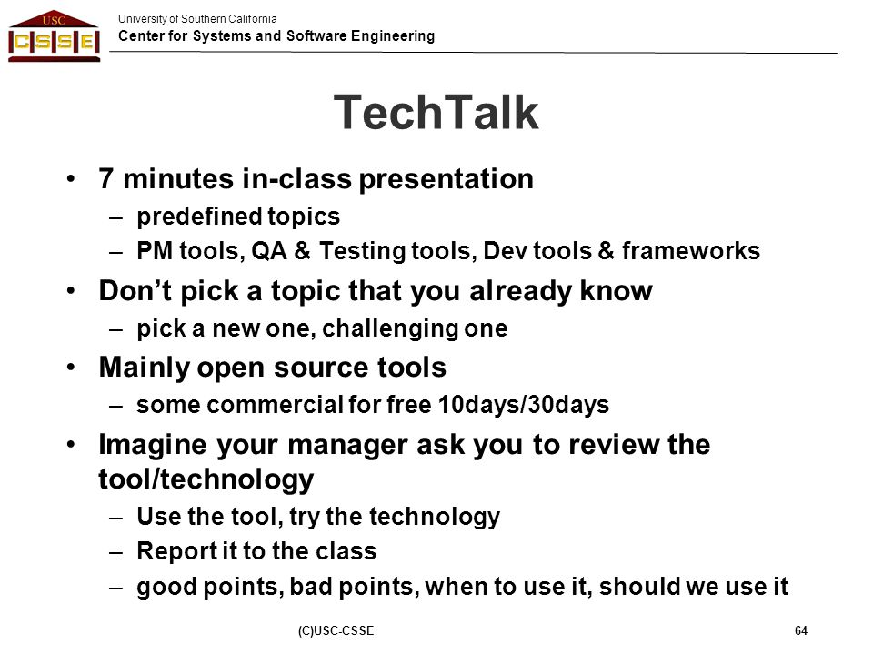 TechTalk 7 minutes in-class presentation