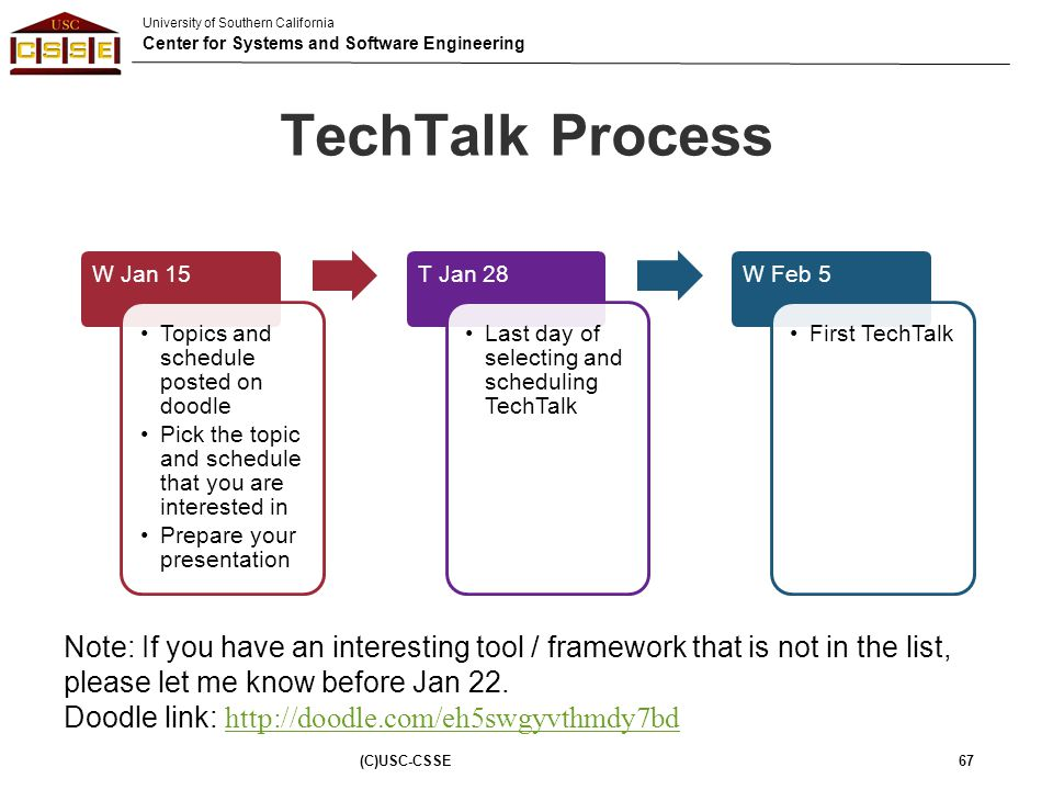 TechTalk Process W Jan 15. Topics and schedule posted on doodle. Pick the topic and schedule that you are interested in.