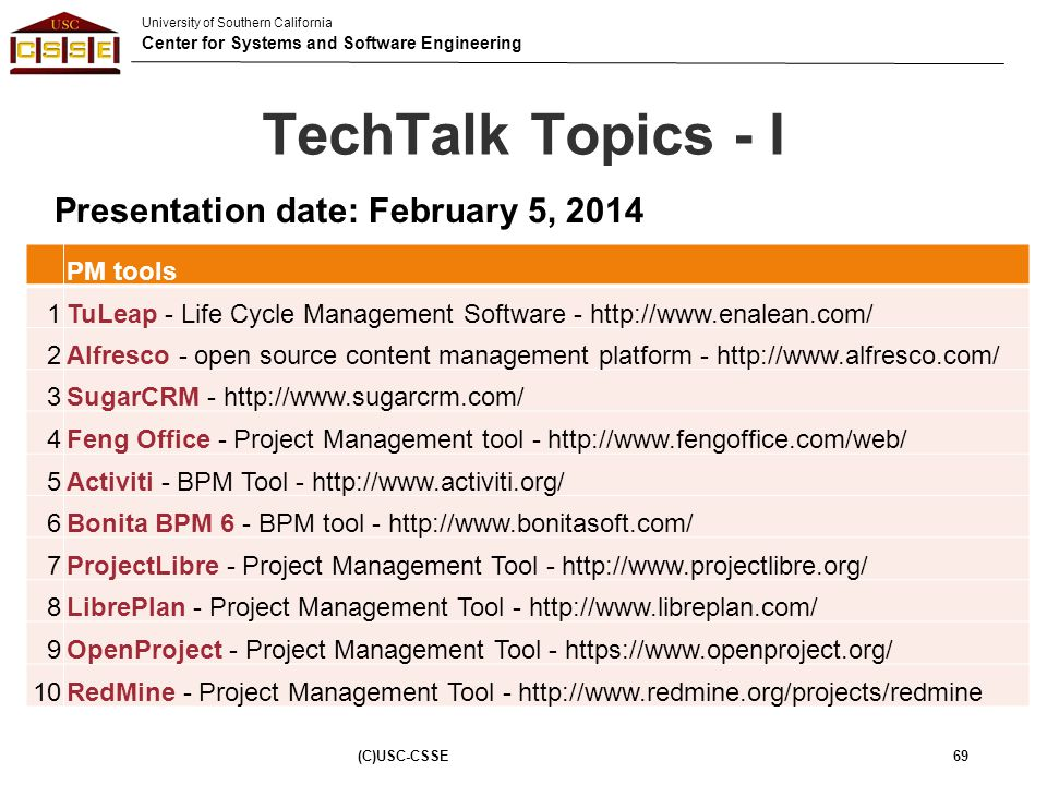 TechTalk Topics - I Presentation date: February 5, 2014 PM tools 1