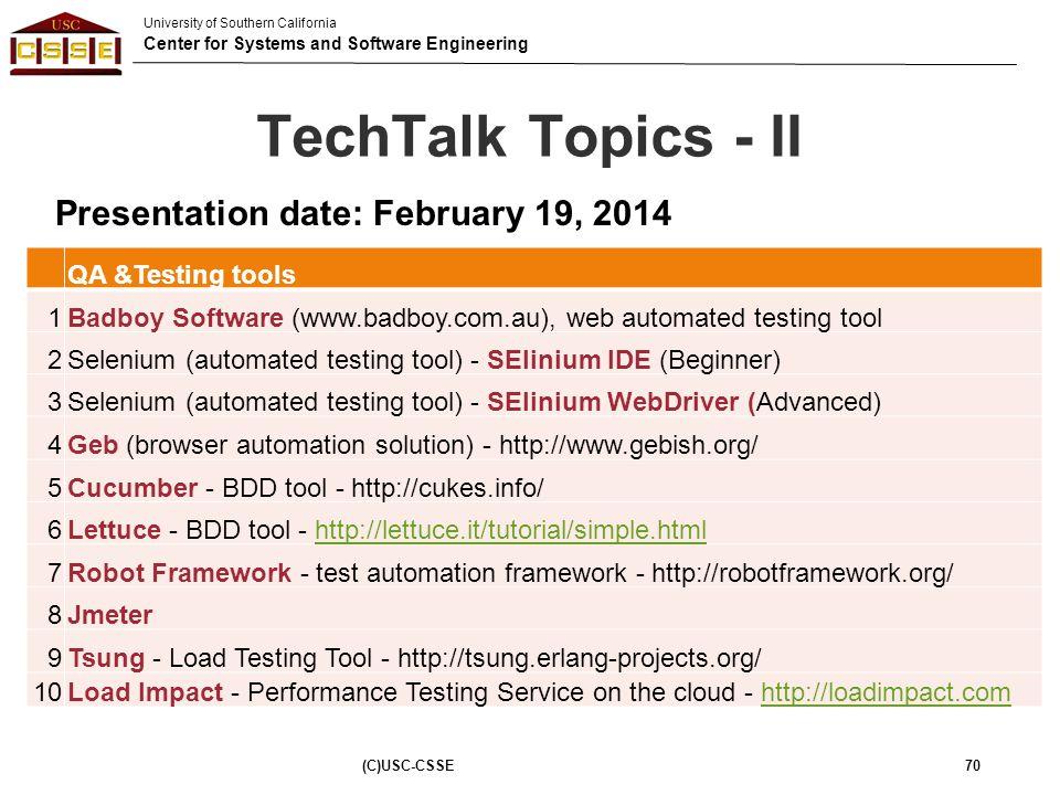 TechTalk Topics - II Presentation date: February 19, 2014