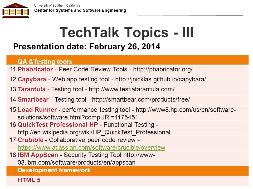 TechTalk Topics - III Presentation date: February 26, 2014