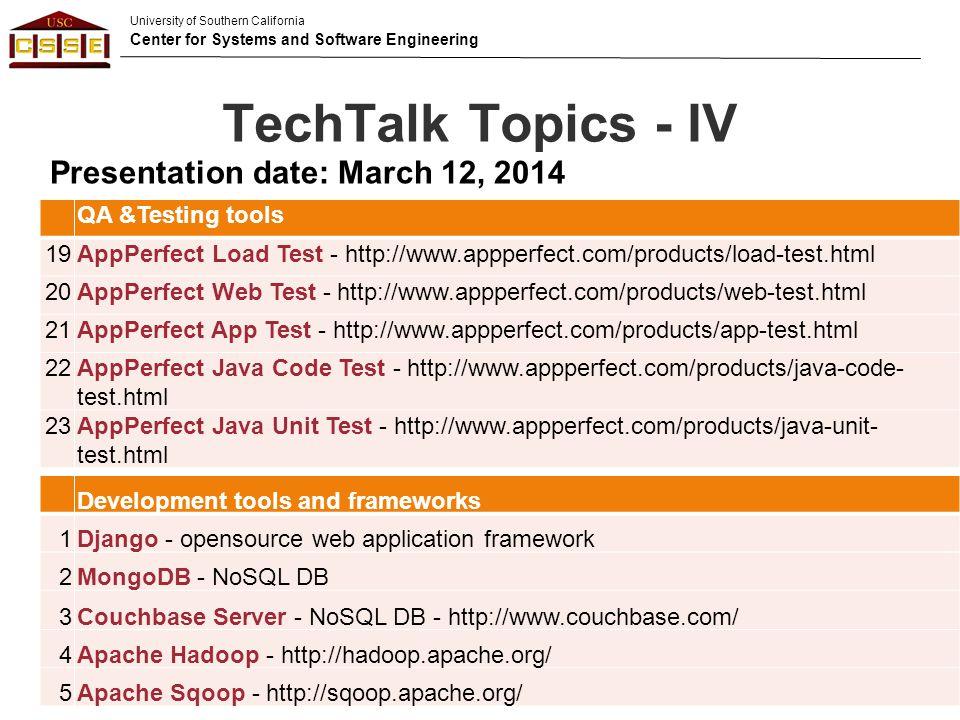 TechTalk Topics - IV Presentation date: March 12, 2014