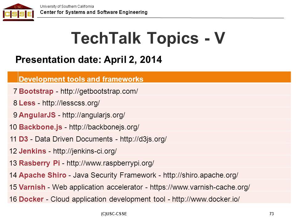 TechTalk Topics - V Presentation date: April 2, 2014