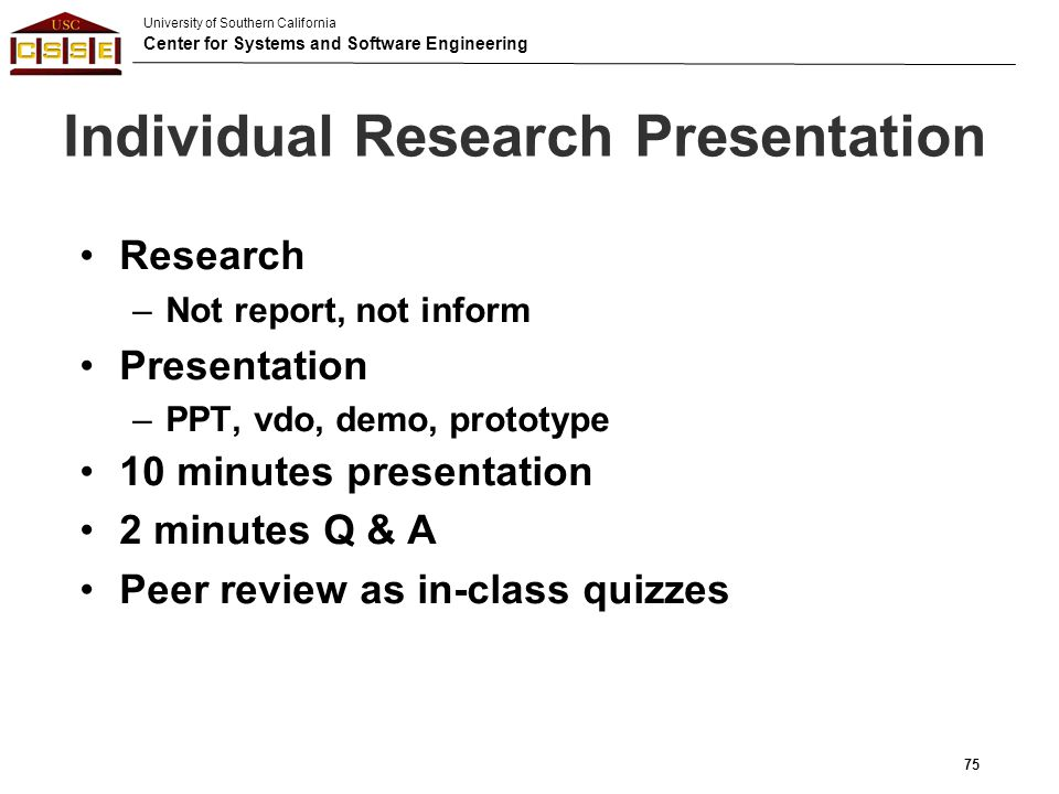 Individual Research Presentation