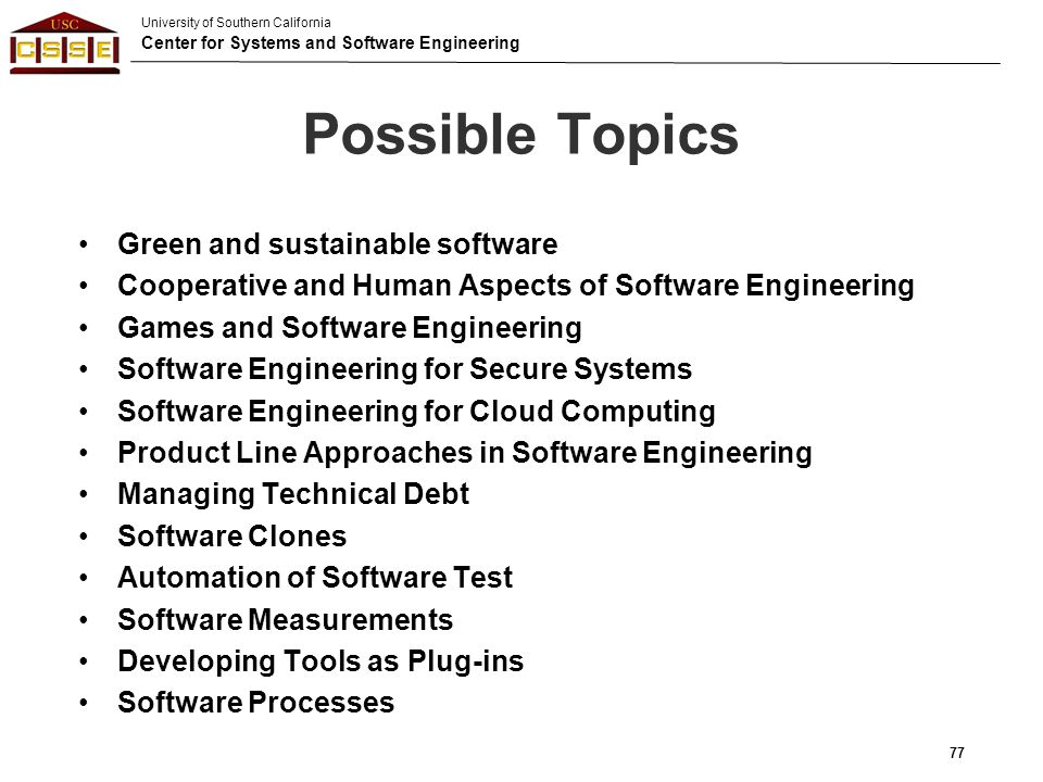 Possible Topics Green and sustainable software