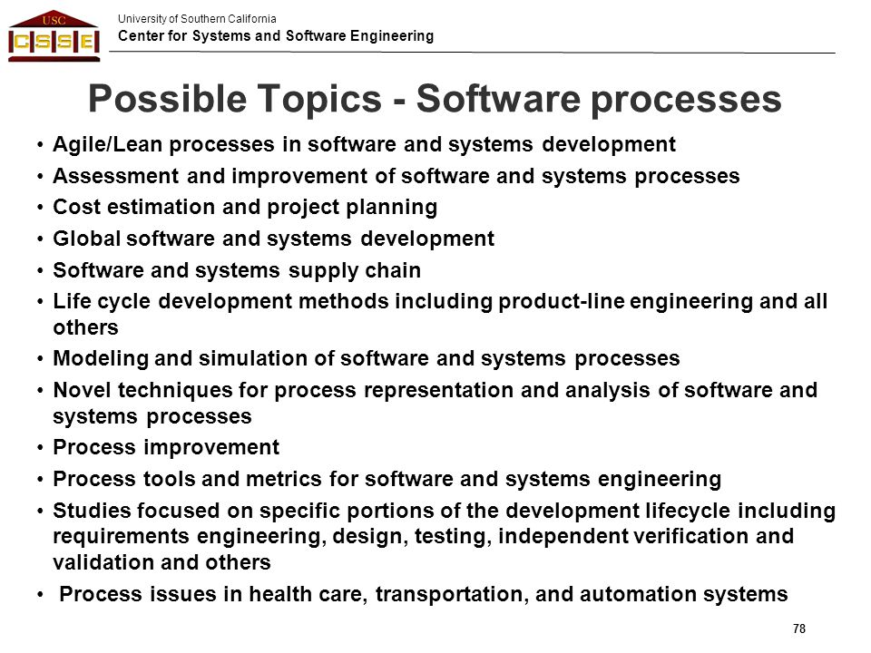 Possible Topics - Software processes