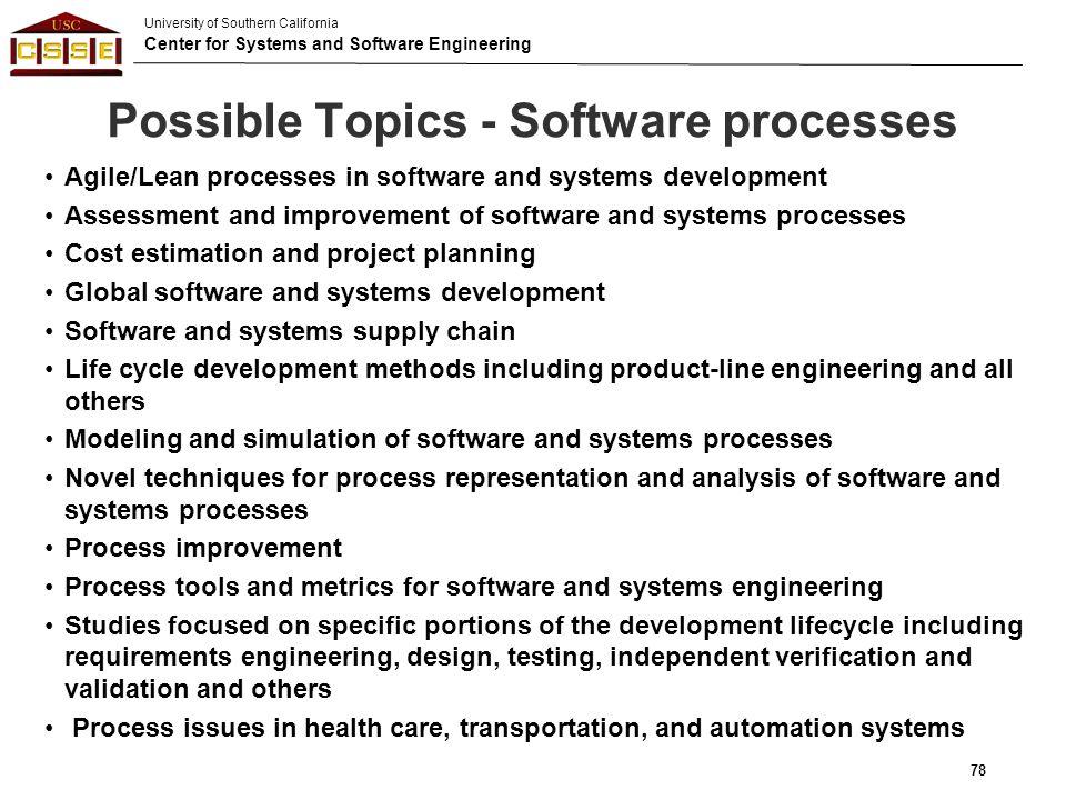 Possible Topics - Software processes