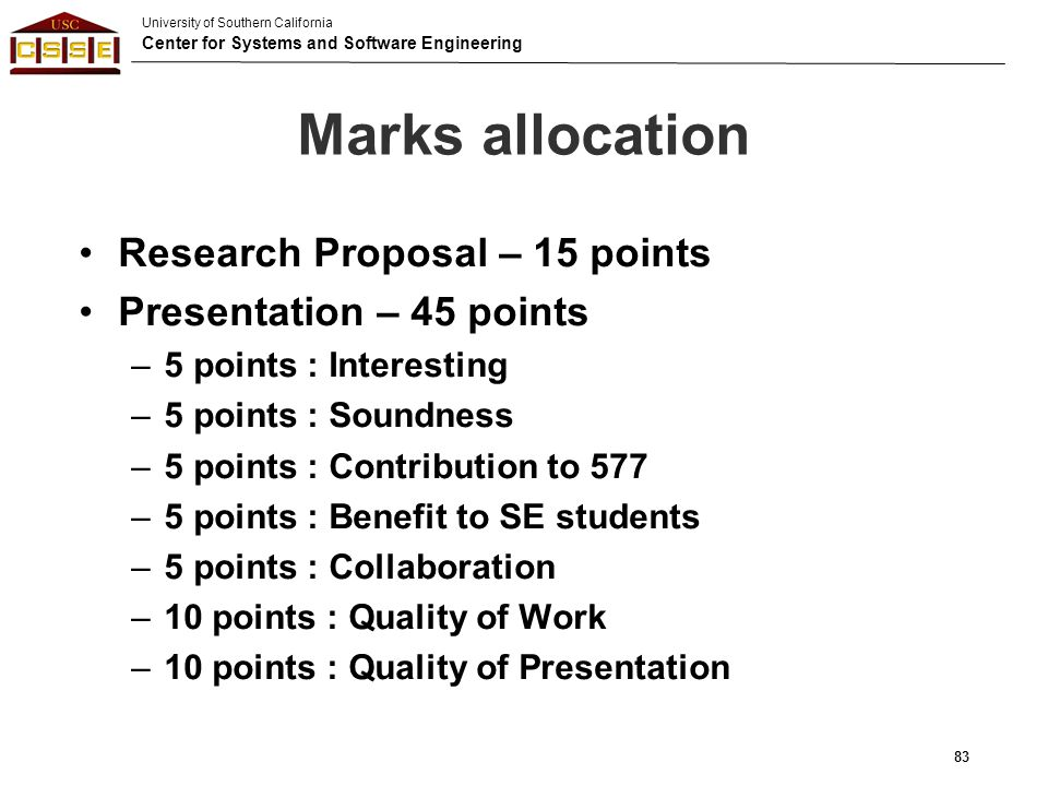 Marks allocation Research Proposal – 15 points