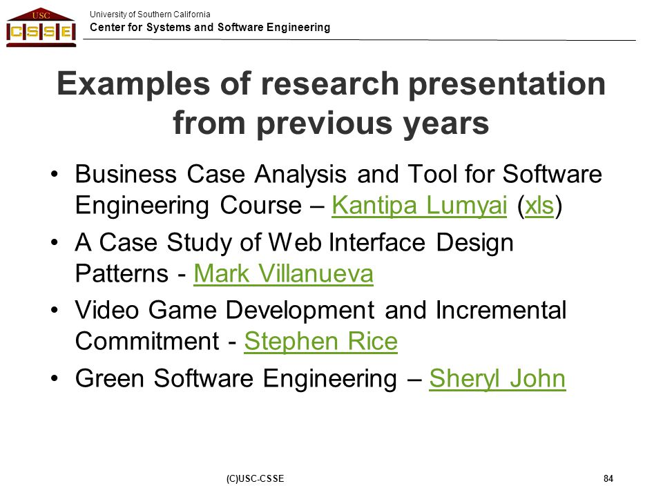 Examples of research presentation from previous years