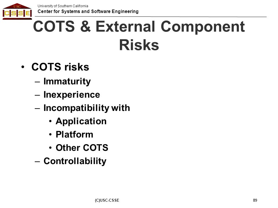 COTS & External Component Risks