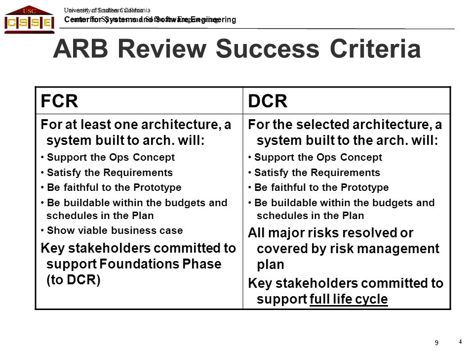 ARB Review Success Criteria