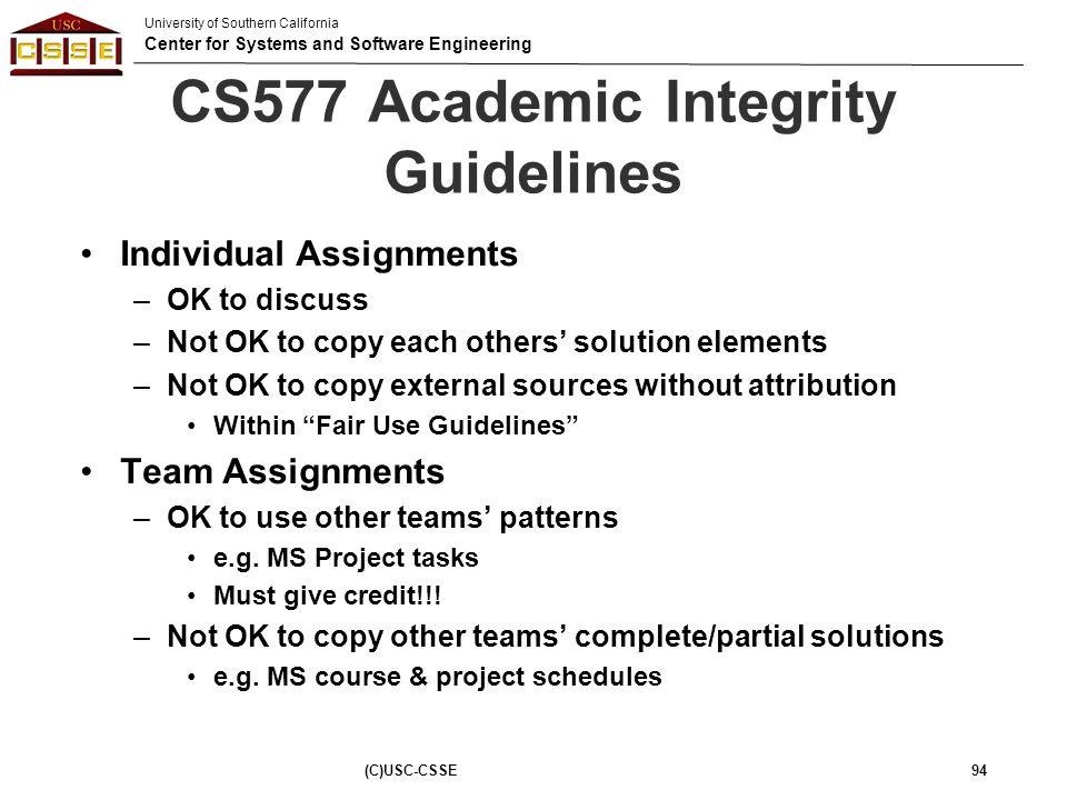 CS577 Academic Integrity Guidelines