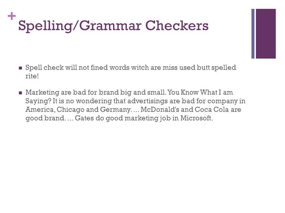 Spelling/Grammar Checkers