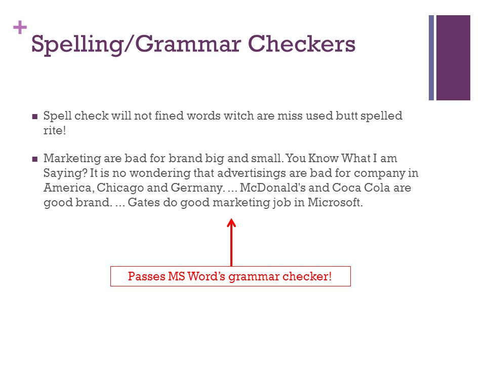 Spelling/Grammar Checkers
