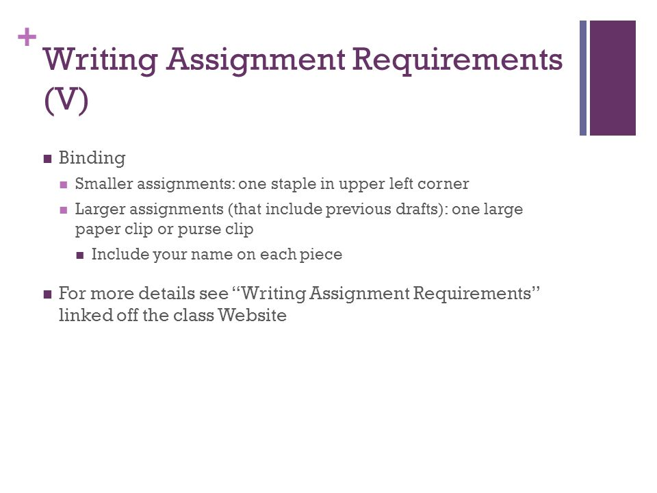 Writing Assignment Requirements (V)