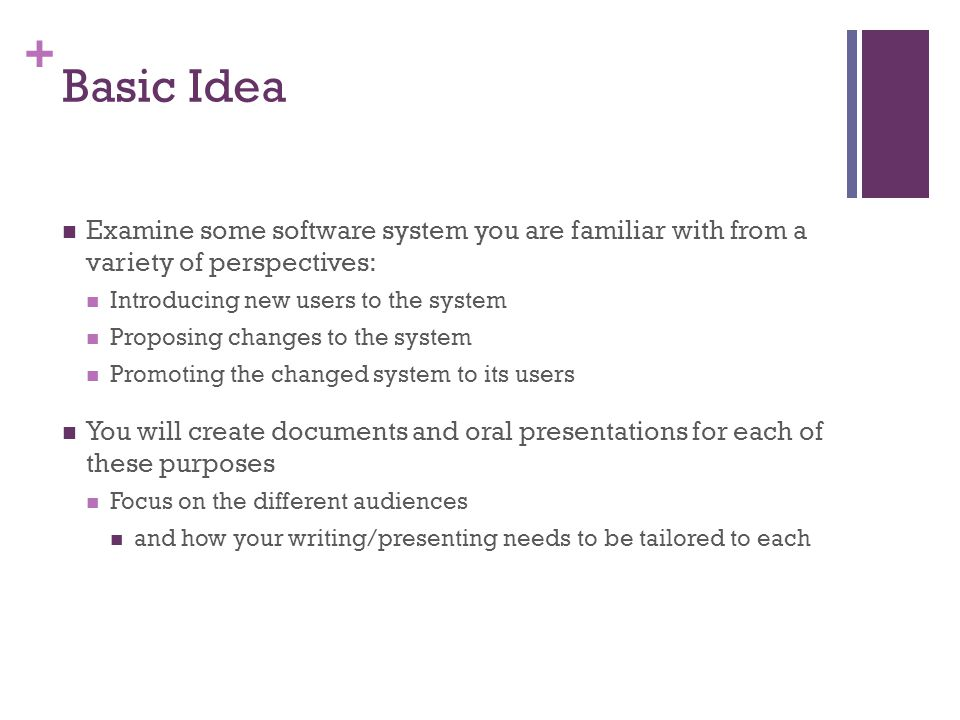 Basic Idea Examine some software system you are familiar with from a variety of perspectives: Introducing new users to the system.