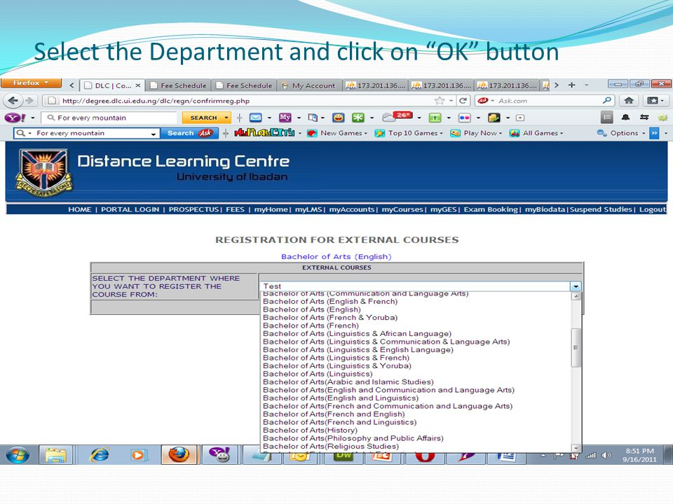 Select the Department and click on OK button