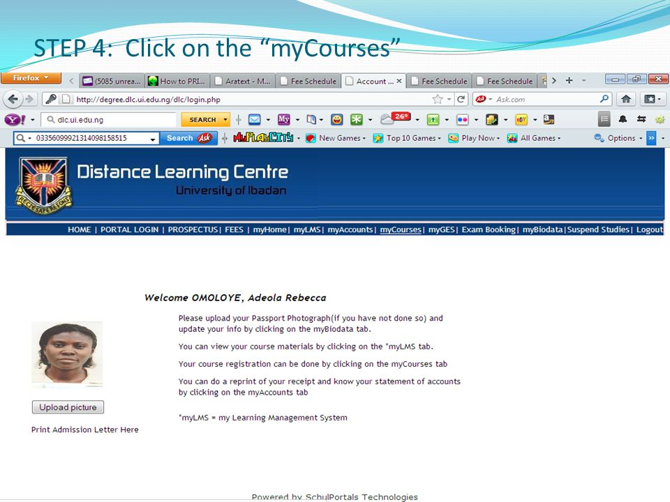 STEP 4: Click on the myCourses