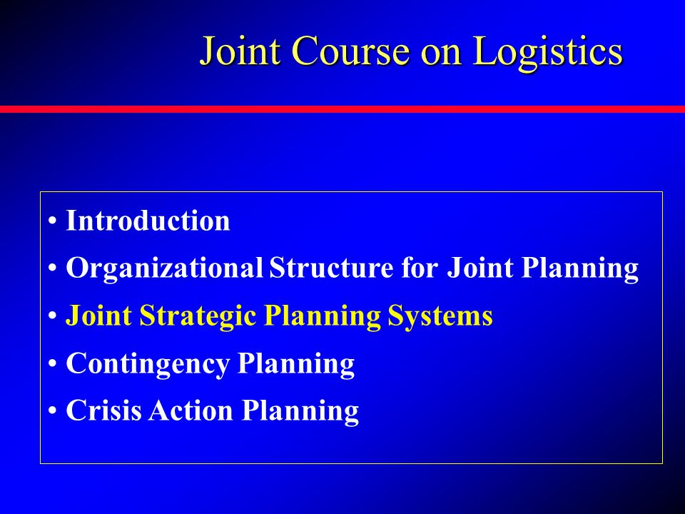 Joint Course on Logistics