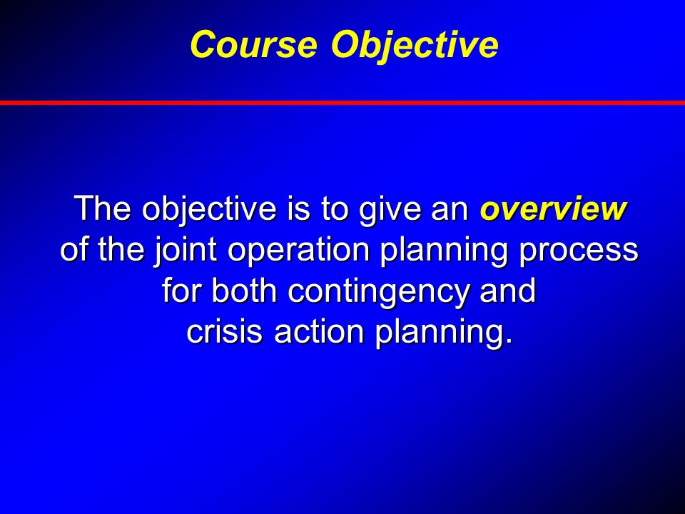 Course Objective The objective is to give an overview