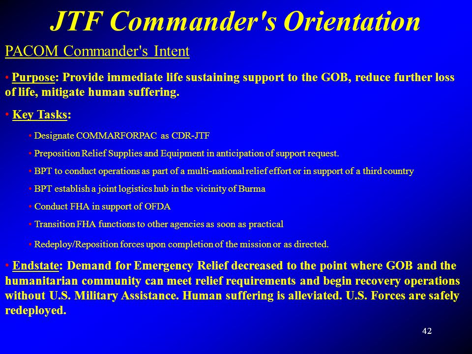 JTF Commander s Orientation