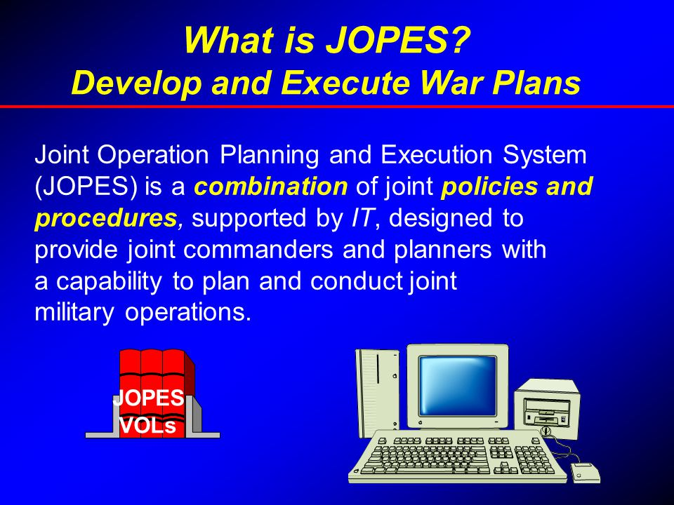 What is JOPES Develop and Execute War Plans