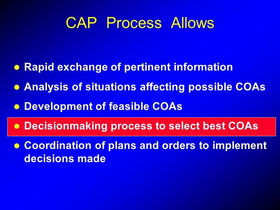 CAP Process Allows Rapid exchange of pertinent information