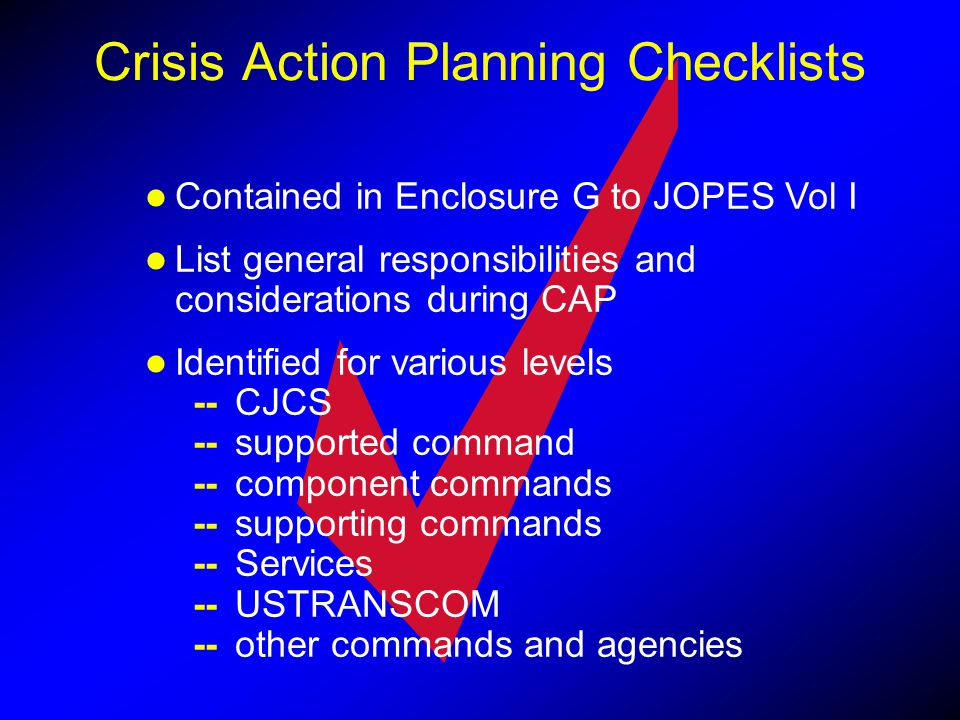 Crisis Action Planning Checklists
