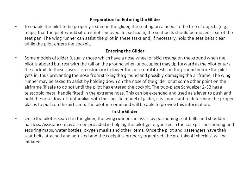 Preparation for Entering the Glider