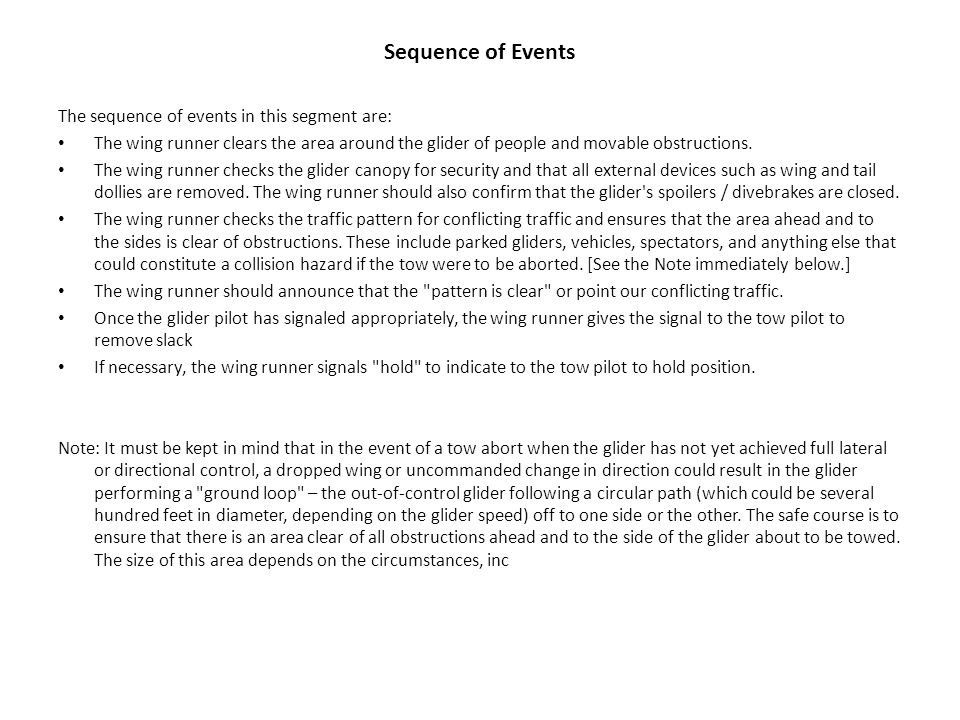 Sequence of Events The sequence of events in this segment are: