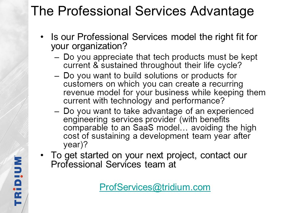 The Professional Services Advantage
