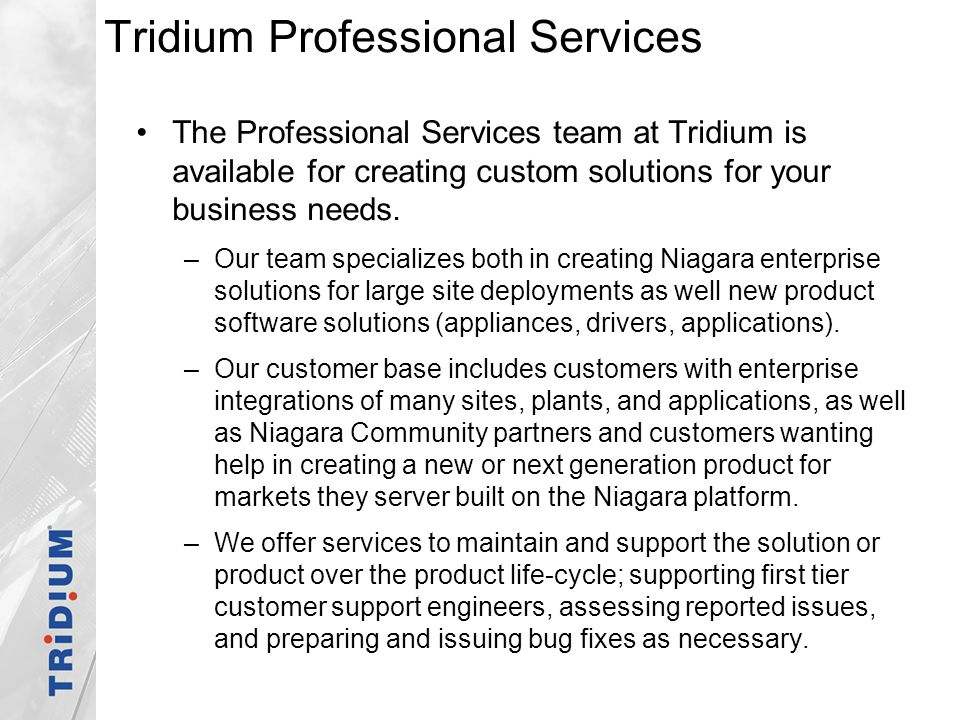 Tridium Professional Services