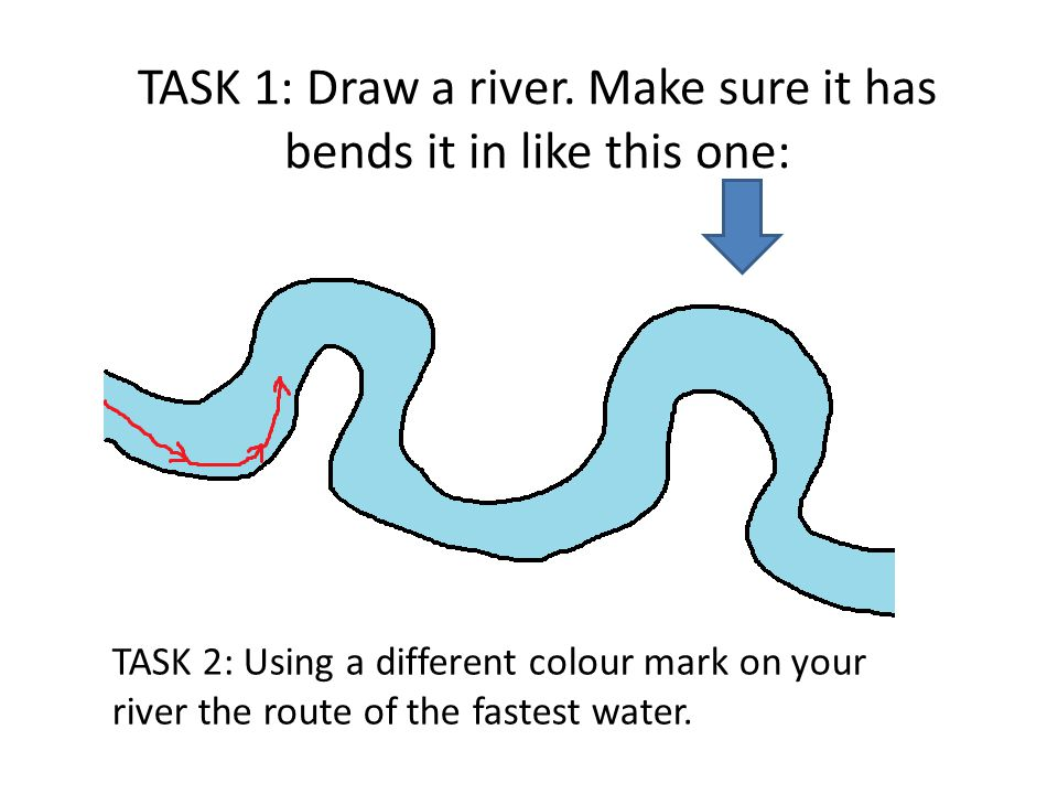 TASK 1: Draw a river. Make sure it has bends it in like this one: