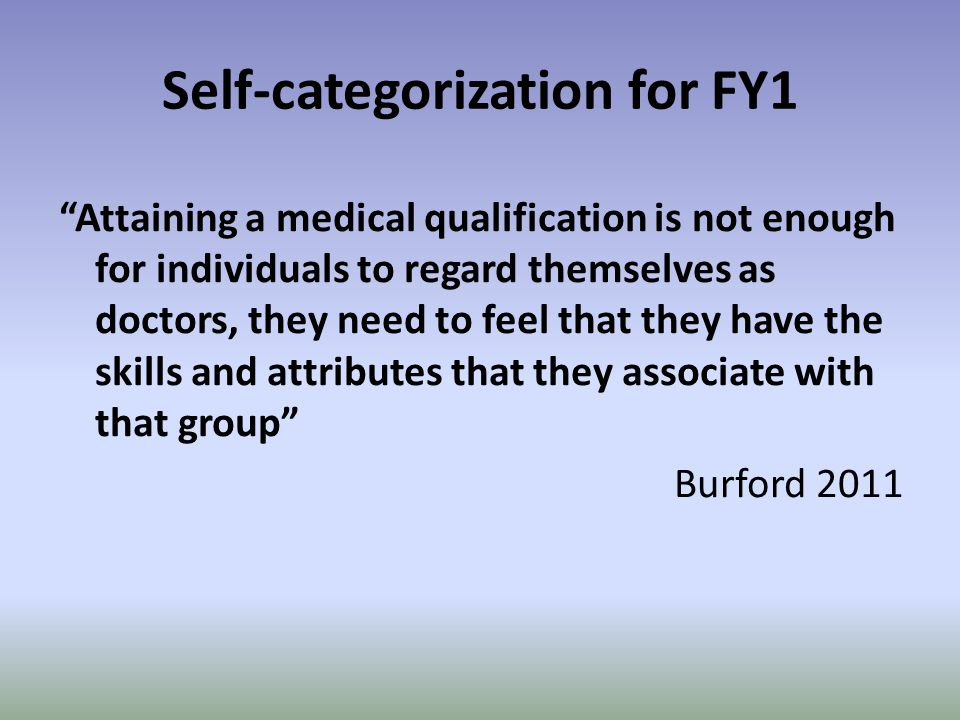 Self-categorization for FY1