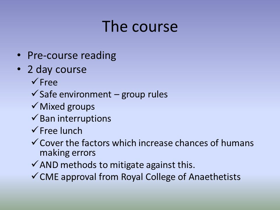 The course Pre-course reading 2 day course Free