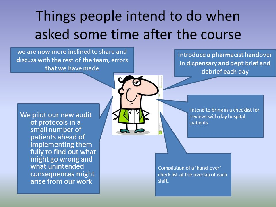 Things people intend to do when asked some time after the course