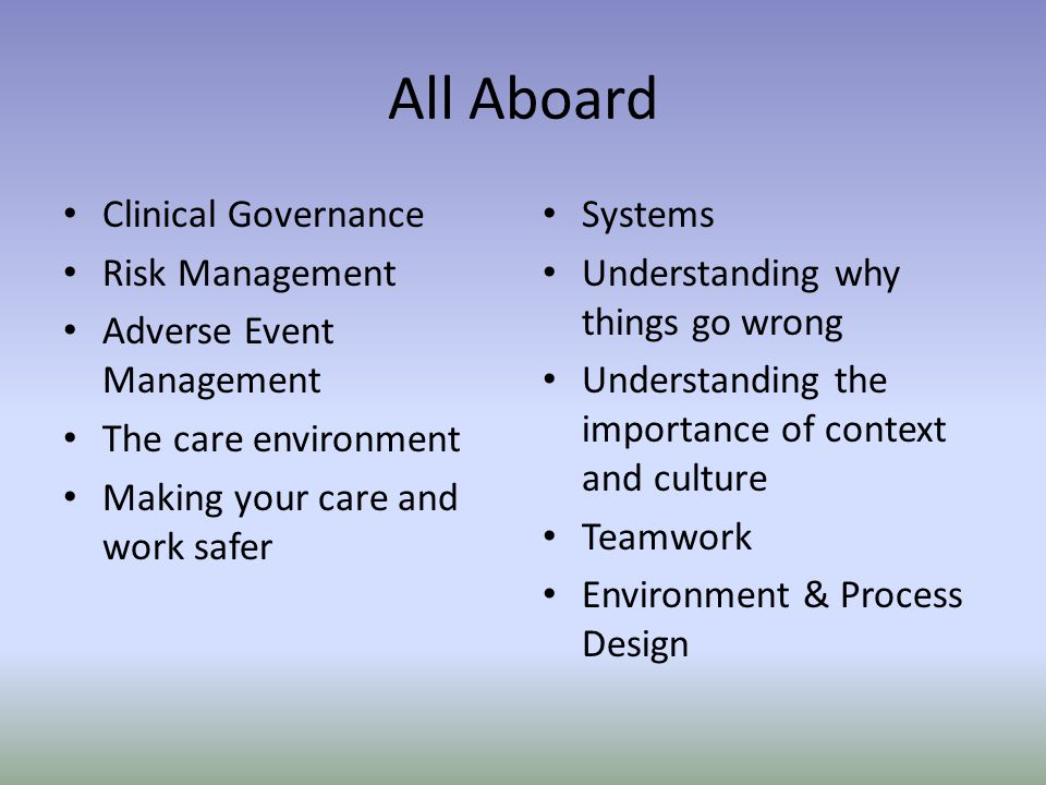 All Aboard Clinical Governance Risk Management