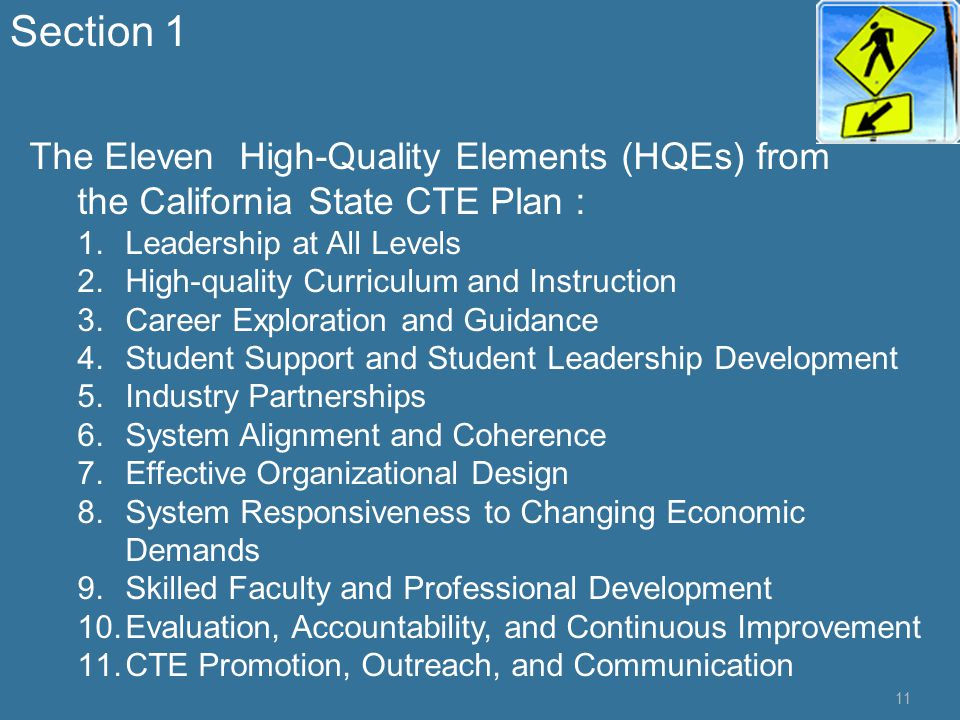 Section 1 The Eleven High-Quality Elements (HQEs) from