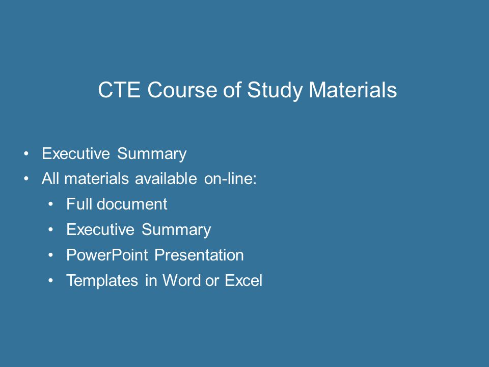 CTE Course of Study Materials
