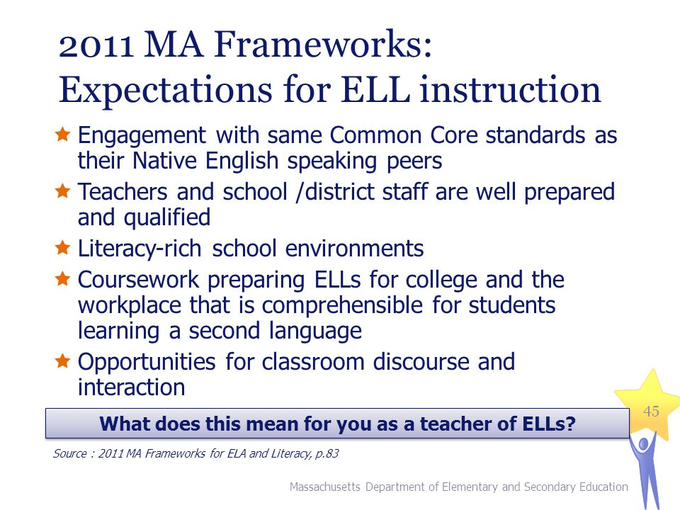 2011 MA Frameworks: Expectations for ELL instruction